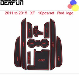Wholesale Red Car Rubber Mats - 10PCS For Jaguar XF 2011 To 2015 High Quality Latex Anti-slip Mat Cover Sticker Gate Slot Pad Car Interior Decoration