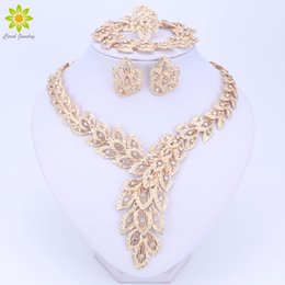 Wholesale jade silver wedding dresses - Jewelry Sets For Women Fine Crystal Necklace Earrings Bracelet Set African Beads Gold Color Pendant Wedding Dress Accessories
