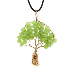 Wholesale Wrap Necklaces - Creative Handmade Wire wrapped Copper Tree Of Life Pendant Necklace Crystal Beads Wisdom Tree Necklaces Women Jewelry fashion Accessories