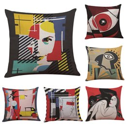 Wholesale Picasso Print Abstract - Picasso Abstract Painting Linen Cushion Cover Home Office Sofa Square Pillow Case Decorative Cushion Cover Pillowcases Without Insert(18*18)