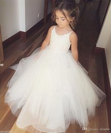 Wholesale White Formal Dresses For Sale - 2018 Hot Sale Cheap Flower Girls Dresses Tulle Lace Top Spaghetti Formal Kids Wear For Party For Birthday Dresses Toddler Gowns