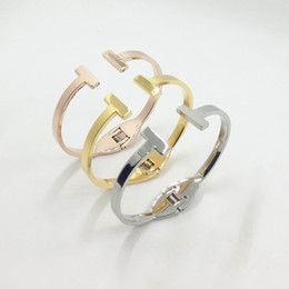 Wholesale Titanium Snap Link Bracelets - New Fashion Titanium Steel Gold Plated T Jewelry Snap Jewelry Mens' Bracelets Bangles Stainless Steel Bracelets Woman T Pulseras
