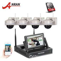 Wholesale Security System 4ch Wifi - ANRAN 7 Inch Screen Video Surveillance Kit 4CH Wireless NVR Outdoor Dome 30 IR 720P HD Security IP Camera Wifi CCTV System 1TB HDD Optional