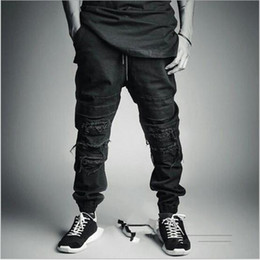 Wholesale Dance Jogging - New 2017 Mens Ripped Jogger Pants Loose Black Distressed Casual Pants Fashion Jogging Sport Trousers Hip-hop Street Dance Pants