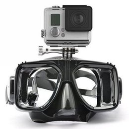 Wholesale Gopro Silicon - Wholesale-1 piece gopro diving mask soft liquid silicon scuba diving mask with clear tempered glass top snorkel mask for adult diving