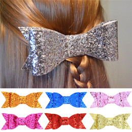 Wholesale Baby Pin Wholesale - 8 colors Girls Glitter Bowknot hair pins for baby and big girls fashion sequins bow Hairpins princess Barrettes kids hair accessory