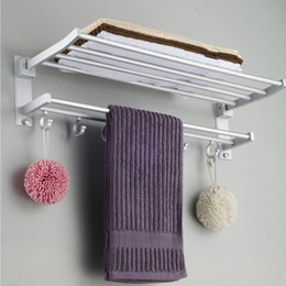 Wholesale Bar Towels - Double Alumimum Wall Mounted Bar Bathroom Holder Towel Rail Storage Rack Shelf (Size: 60cm by 19cm by 18cm, Color: Silver)