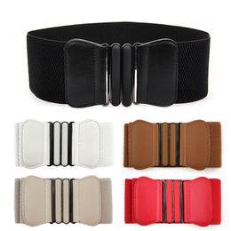 Wholesale Wide Red Elastic Belt - 2016 New Designer Women PU Leather Belt Buckle Wide Stretch Elastic Waistband Waist Belts For Women Adjustable ceinture femme Z2
