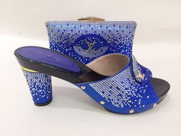 Wholesale Purple High Heels For Wedding - Fashion African shoe and bag set for party Italian shoe with matching bag new design ladies matching shoe and bag TYS1-12