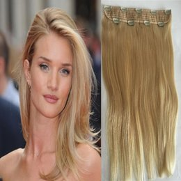 Wholesale Blonde Hair Clip Piece - Hair factory supply single piece clip in hair extensions,100g blonde brazlian indian peruvian malaysian hair clip in