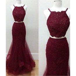 Wholesale Beaded Spaghetti Strap Evening Dress - 2017 Burgundy Prom Dresses Two Pieces Real Photos Spaghetti Straps Lace And Tulle Mermaid Custom Made Evening Party Gowns