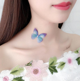 Wholesale Butterfly Beach Wedding - Colorful 3D Simulation Butterfly Tattoo Chokers Stealth Fishing Line Neck Necklace Women New Designer Crystal Sexy Beach Wedding Jewely