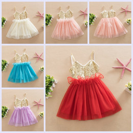 Wholesale Sequin Ballet Tutu - Baby Girl Party Dress Sequins Gauze Baby Ballet Tutu Dress Children Kids sleeveless Performance Dress 2-6Y