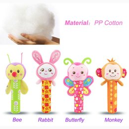Wholesale Shake Dolls - Wholesale- Baby Mobile Plush Toy animal Rattle Hand Shake Grip Rod Toys Early Educational Development Squeaker Doll For Baby Gift I010
