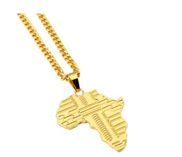 75cm chain Promo Codes - Trendy Gold Plated Africa Map Pendant Necklace With 75cm Cuban Chain Hip Hop Jewelry Men Women Bijouterie With Gift Box