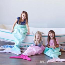 Wholesale Duck Down Sleeping Bags - Kids Mermaid Tail Sleeping Bags Fish Tail Blankets Shark Blanket Cocoon Mattress Sofa Bedroom Blankets Camping Travel Blankets A1236 5p