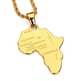 Золото колье колье африканского стиля онлайн-Новая африканская карта хип-хоп стиль позолоченные и посеребренные кулон колье ожерелья ювелирные изделия для мужчин и женщин