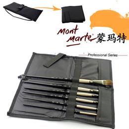 Wholesale gouache paint brush - Wholesale- Montmartre canvas bag folding brush pen bag inserted curtain for gouache watercolor painting pen