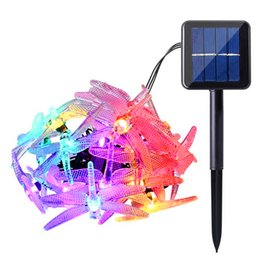 Wholesale dragonfly solar - Outdoor Dragonfly Solar String Lights 16ft 20 LED 8 Modes Waterproof Fairy Lighting for Christmas Trees Garden Patio Wedding