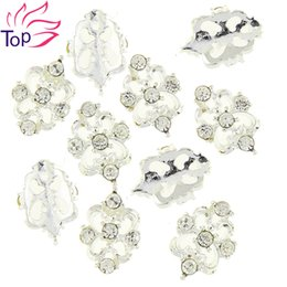 Wholesale Silver Studs For Nail Art - Wholesale- 10 Pcs Lot Full Cover Silver Metal Charms Strass Nail Art Decorations 3D Diy Beauty Alloy Rhinestones Studs For Nails TN1767