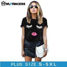 Wholesale Eyelash Flares - Wholesale-Owlprincess Plus Size 5XL Eyelashes Red Lips Printed Women T Shirt Loose Female Summer Tee Tops Short Sleeve White Women Tshirts