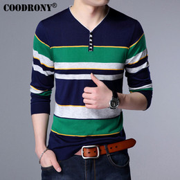 Wholesale Mens V Neck Striped Collar - Wholesale- COODRONY Henry Collar Woolen Sweater Men Brand Clothing Mens Sweaters Fashion Striped Pullover Men Button V-Neck Pull Homme 7117