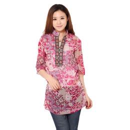 Wholesale Semi Sheer Tops - Fashion Women Semi-sheer National Style Floral Print Half Sleeves Loose Chiffon Shirt Blouse Tops