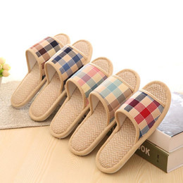 Wholesale Straw Shoes Men - Wholesale-Lovers Sandals Summer Small Broken Flower Flax Straw Mat Slippers Occupy Home Woman&Man Shoes