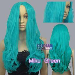 Wholesale Red Miku Wig - 60cm Miku Green Heat Styleable No Bang Curly wavy Cosplay Wigs 38_MGG