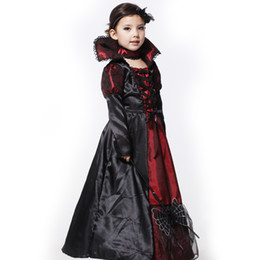 Wholesale 12 Days Christmas Costumes - Shanghai Story Halloween vampire princess children halloween costume Evil Queen kid party dress performance cosplay costumes