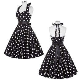 Wholesale Polka Dot Swing - Summer Women Dresses 2017 Casual Polka Dot Retro Vintage 50s 60s robe Rockabilly Swing Pinup Party Dress Black White