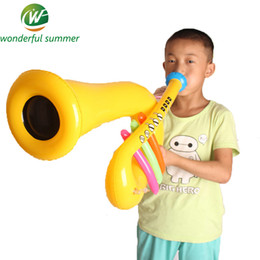 Wholesale Stage Decoration Children - Wholesale-Musical Instrument Inflatable Trumpet Children Blow Up Toys Speaker Stage Performances Prop Birthday Party Decoration Gifts
