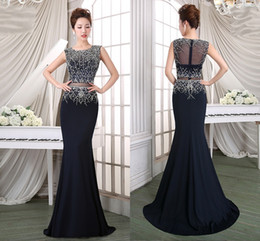 Wholesale Natural Red Coral Jewelry - 2017 Free Shipping New Navy Blue Prom Dress Fishtail Long Beaded Jewelry Elegant Sexy Sequin Evening Dress HY1187