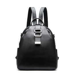 Wholesale Cow School Bags - Women's Backpacks Fashion Leisure Cowhide School Bag with Two Straps Lichee Pattern Cow Leather Shoulder Bags
