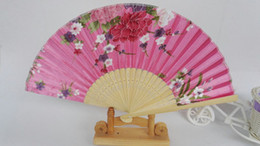 """Wholesale Wooden Halloween Crafts Wholesale - 7"""" Pretty Silk Floral Folding Hand held Fan Wedding Party Favor Cloth Crafts Adult Women Wooden Fans 10 pcs lot Free shipping"""