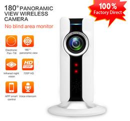 Wholesale Lens Webcam Wifi - Panoramic Fisheye Lens IP Camera WIFI Wireless Mini Surveillance Camera 180 Degree Video Cam IP Webcam Wi-Fi 720p IP Cam