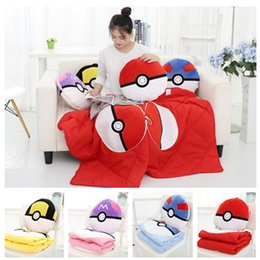 Wholesale 4colors Poke ball multifunction quilting blanket Pocket Monster plush Cushion blanket cm Air conditioning blanket Nap blanket