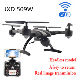 Wholesale jxd rc - Wholesale- RC Aircraft JXD 509W WIFI FPV Headless Mode One Key Return Quadcopter 2.4GHz Drone Dron With Camera