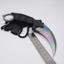 Counter Strike CS GO Cuchillo Karambit Cuchillos de supervivencia Csgo Cuchilla fija Color Piel de titanio Entrenamiento al aire libre Cuchillo de rescate Camping EDC Herramientas desde fabricantes