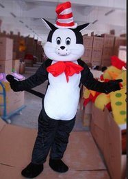 Wholesale Cat Mascot Costume Fancy Dress - Adult Cat in the Hat Dr. Seuss Mascot Costume Halloween Costumes Fancy Dress Suit Birthday Party character Costume