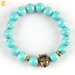 asian figures Coupons - CSJA Women Fashion Hand Jewelry Green Turquoise Gemstone Beaded Mala Bracelets Gold Animal Figure Adjustable Size Prayer Jewellery Gift E123