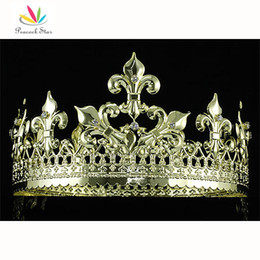 Wholesale Prom King Crowns - Peacock Star Imperial Medieval Homecoming Pageant Prom Full Circle Round Gold Plated King Men's Crown CT1715