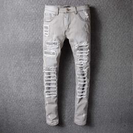 Wholesale 29 Jeans For Men - Grey Ripped Robin Jeans For Men With Holes Denim Super Skinny Famous Designer Brand Slim Fit Robins Jean Pants Scratched Biker Jeans 29-42
