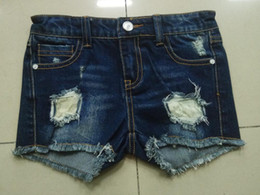 Wholesale Destroyed Jeans Shorts - Wholesale Hot Fashion Jeans Ripped Destroyed Blue Straight Short Pants Denim High Quality Trousers for Girls
