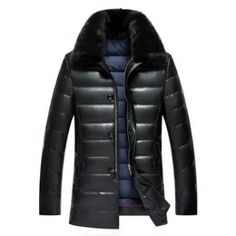 Wholesale White Mink Collar - Wholesale- Winter men's lapel PU leather thick fur mink collar PU leather down jacket men in the long paragraph
