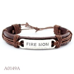 Wholesale Wholesale Firefighter Gifts - Fire Mom Wife Adjustable Leather Cuff Bracelets for Men & Women Firefighter Mom Bangle Punk Casual Wristband Jewelry Customizable