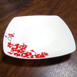 Wholesale red dinnerware - Red Gorgeous Plum Printed Ceramic Square Dinner Plates Square Dinnerware Dishes Holiday Gift To Friends And Families