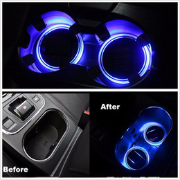 Wholesale Led Trims - 2PCS Solar Cup Holder Bottom Pad LED Light Cover Trim Atmosphere Lamp For All Car Free shipping