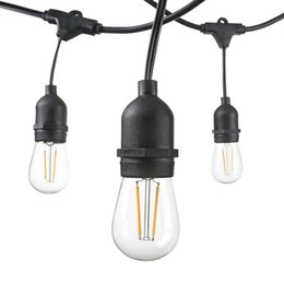 Wholesale Patio Led Lighting - 48 Foot Weatherproof Outdoor String Lights 15pcs S14 LED Filament Bulbs Included Perfect Patio Lights & Party Lights-Black UL Listed