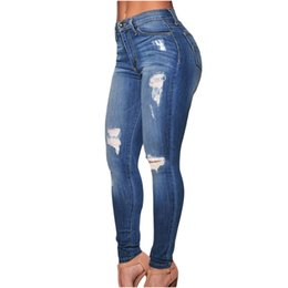 Wholesale Jean Hot Pant Women - Wholesale- Dear lover Hot Selling 2017 Denim Pants Destroyed high waist Skinny Jeans LC78637 ripped jeans for women jean taille haute